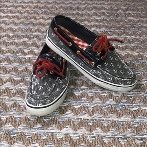 Sperry sequined deck shoes with anchor detail